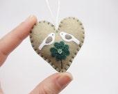 Lucky in Love Miniature Felt Heart Ornament, St Patrick's Day Ornament, Shamrock Ornament, Love Birds Ornament, Four Leaf Clover, 2017
