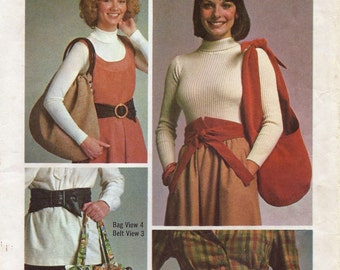 Belts and Hobo Bags Pattern, Retro Chic Sash Belts and Bohemian Purses, Simplicity 7018 Sewing Pattern, Sewing Supply