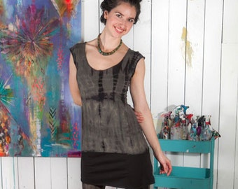 Shibori It! -  Stretch Hemp and Organic Cotton Cap Sleeve Tie-dyed Tee
