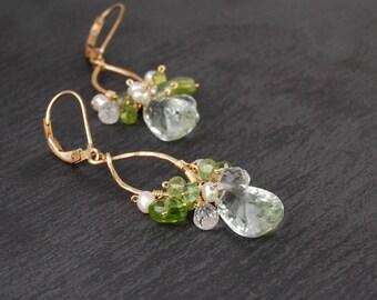 Green amethyst chandelier earrings, green gemstone earrings, peridot, crystal quartz and freshwater pearls, gold chandelier earrings