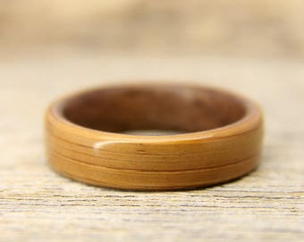 Wooden Ring - Bamboo Bentwood Ring Lined With Walnut- Handcrafted Wood Wedding Ring - Custom Made