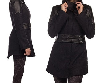 ON SALE Phoenix, highly tailored avantgarde winter coat with asymmetrical neckline by Plastik wrap.
