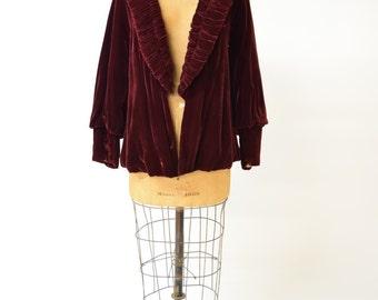 20s JEAN PATOU Burgundy Velvet Cropped Jacket w Dramatic Ruched Collar // Gatsby Era Elegance, Flapper Finery, Luxurious Vamp Attire