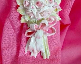 Shabby Chic Pink Long Stem Roses Furniture Applique, Miniature Roses, Fern Leaves, OOAK Sculpture