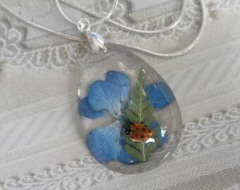 Real Ladybug, Colorado Sky Blue Hydrangea, Feather Ferns Glass Teardrop Pressed Flower Pendant-Symbolizes Understanding-Nature's Art