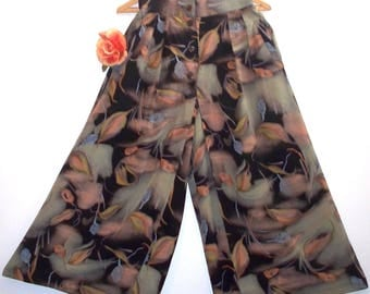 vintage 80s/90s  asian influenced painterly leafy print culottes
