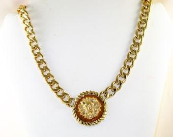 Vintage Large Gold Tone Lion Face Pendant Necklace (N-2-1)