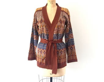 1970s Cardigan Sweater Brown Bell Sleeve Striped Knit Top Catalina Jacquard M