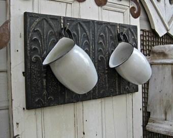 Coat Rack. Towel Rack. Kitchen Hooks. Antique Ceiling Tin & Vintage Hooks. Architectural salvage. Wall coat rack. Black key cap rack.
