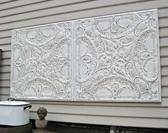 Tin ceiling tile, Framed Antique architectural salvage, Large French Country decor, Pressed tin tile panel
