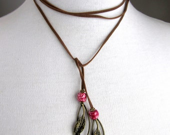 Leather Wrap Necklace - Leather Lariat Pendant - Long Beaded Necklace - Pink Leaf