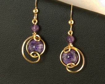 Purple Charoite Gemstone Gold Drop Earrings, Small Russian Charoite Unique Wire Wrapped Violet Earrings, Violet Purple Earrings Jewelry