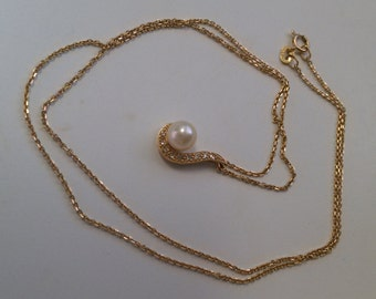 Natural Pearl and Diamond Three Piece 14k Gold Set