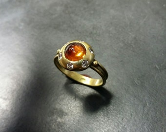 Beautiful and Unique 14k gold cabochon topaz and diamond Art Deco style ring
