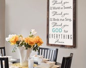 Thank You For the Food We Eat  - Thank You For the World So Sweet - Prayer Sign -  Blessing -  Framed Rustic Sign
