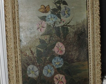 Antique VICTORIAN Sunday artist Naive Morning Glories FLOWER & Butterfly Oil Painting Framed c1890s