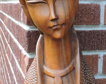 Vintage MID-CENTURY Oriental WOMAN Carved Wood Statue Bust 18 1/4 ins. tall c1960s
