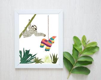 Sloth Print-Sloth-Nursery Decor-Nursery Wall Art-Succulent-Succulent Print-Cactus-Cactus Print-Pinata-Sloth Wall Art-Animal Art-Paper Sloth