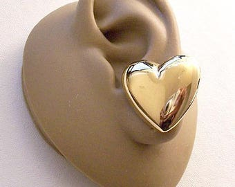 Big Bold Heart Button Pierced Stud or Clip On Earrings Gold Tone Vintage Avon Large Puffed Mirror Smooth Finish Discs Surgical Steel Posts