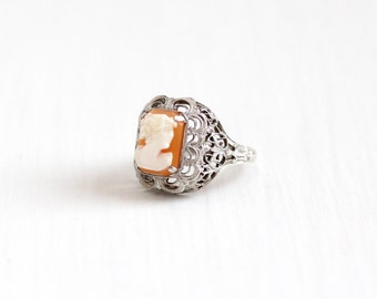 Vintage Art Deco Sterling Silver Cameo Filigree Ring - 1930s Size 4 1/2 Genuine Carved Shell Classic Flower Setting Statement Jewelry