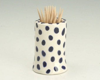 Toothpick Holder, Ceramic Tooth Pick Holder, Small Bud Vase, Hand Built Pottery, Tooth Pick Dispenser, Squares and Dots, Handmade Gifts