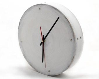 NO TICKING White Wood Wall Clock, Circle Wall hanging, Silver points Moon clock 13 inch diameter, Silent clock, Black Friday sale, Xmas gift