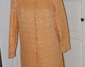 "60s Creamsicle Orange Brocade Dress, Coat, Ensemble, Outfit, 2 Pieces, Size M-38"" bust"