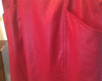 vintage red skirt faux leather 80s M-L