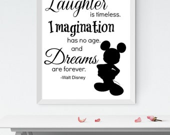 Digital Art: Disney Print, Inspirational Quote Print, Black and White, INSTANT DOWNLOAD
