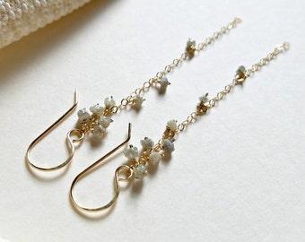 Rough Grey Diamond Earrings, Raw Daimond Earrings, Uncut Diamond Earrings, April Birthstone Earrings, Conflict Free