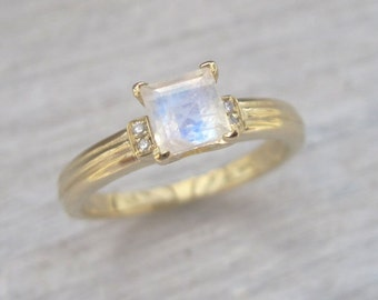 Moonstone Vintage Style Engagement Ring, Antique Moonstone Ring, Princess Cut Moonstone Ring, Moonstone And Diamond Antique Engagement Ring