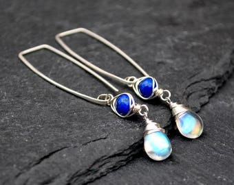 Silver Moonstone Earrings, Long Hammered Silver Rectangle Threaders, Royal Blue Lapis Lazuli & Rainbow Moonstone Dangle Earrings