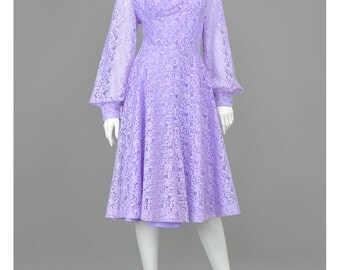Vintage Mod 60s Party Dress • Purple Illusion Lace Dress • Sheer Sleeve Formal Dress • Fit and Flare Full Skirt Dress • 1960s Evening Dress