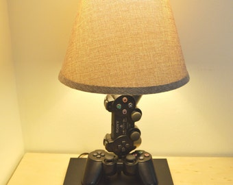 Playstation 2 Desk Lamp Console and Controller - Sculpture Light with Lamp Shade