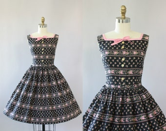 Vintage 50s Dress/ 1950s Cotton Dress/ Betty Barclay Black & Pink Floral Cotton Dress w/ Belt and Bow S