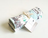 Baby Car Seat Strap Covers - Indian Summer Pine -  Reverses to Light Grey Minky, Woodland Strap Covers, Teepee, Tribal