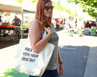 Rock Out With Your Guac Out Tote, Grocery Bag, Reusable Grocery Tote, Gift For Him, Funny Tote Bag, Mom Gift, Farmers Market Tote