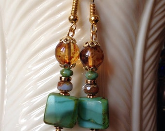 Square Turquoise Czech Glass Earrings - Faceted Czech Glass Picasso Bead - Czech Glass Tortoise Amber on Gold