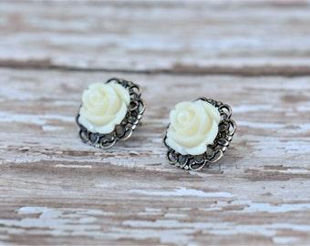 WHITE Rose Flower Earrings / Antique Silver / Hypoallergenic / Surgical Steel Posts / Filigree Base / Stud Earrings / Wedding / Bridesmaids