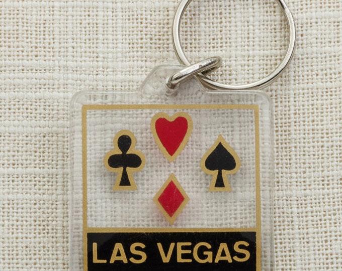 Las Vegas Vintage Keychain Spade Heart Diamond Club Cards Black Jack Key FOB Key Chain 16U