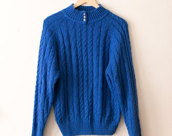 Vintage Blue Mock Neck Sweater / Chunky Knit Turtleneck Sweater / Cable Knit Oversized Slouchy Pullover / 90s Grunge Winter Unisex Hipster