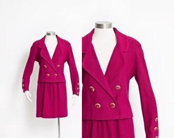 Vintage 80s ST.JOHN Ensemble - Magenta Wool Skit Skirt + Jacket Set 1980s - Small
