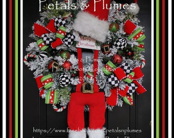 "PRE-ORDER -2017""Delivery-Christmas Wreath- Black White Check Suspender Santa""-Petals & Plumes Original Design© ONLY 2 will be made for 2017"
