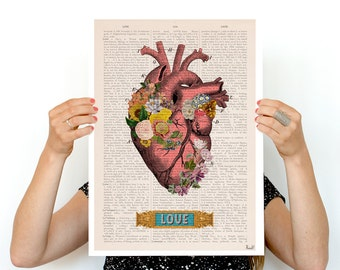 Love Colorful Heart Poster, anatomical art, Roses art, Wall art, flower art, Human heart poster  SKA132PA3