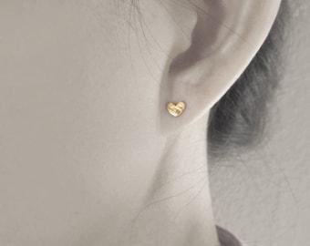 Tiny heart stud earrings, gold heart studs, silver heart studs, simple tiny stud earrings