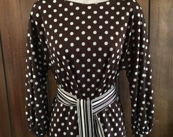 1970's  Victor Costa Brown Polka Dot Dress with Dee Cowl Back    **Free USA Shipping