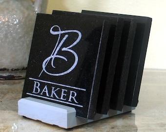 Custom Coasters Personalized Wedding Gift Monogrammed Granite Coaster Set of 4 Anniversary Gift Bar Accessories Entertaining
