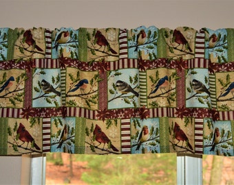 Winter Bird Valance . Winter Bird Cafe Curtains . Seasonal Cafe Curtains . Seasonal Valance. LIGHTWEIGHT Cotton  by Pretty Little Valances