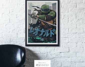 LEO - Teenage Mutant Ninja Turtles - Leonardo - Comic Book Super Hero - TMNT - Wall Decor - High Quality - Hand Signed - Art Print / Poster