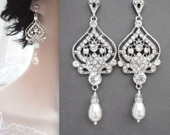 Pearl earrings, Pearl chandelier earrings, Long, Swarovski pearl earrings, Art deco, Brides earrings,Wedding earrings,Crystal earrings, MAE